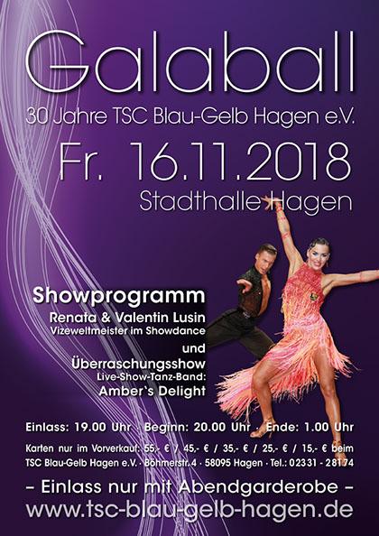 Großer Galaball in der Stadthalle Hagen  zum 30. des TSC Blau-Gelb