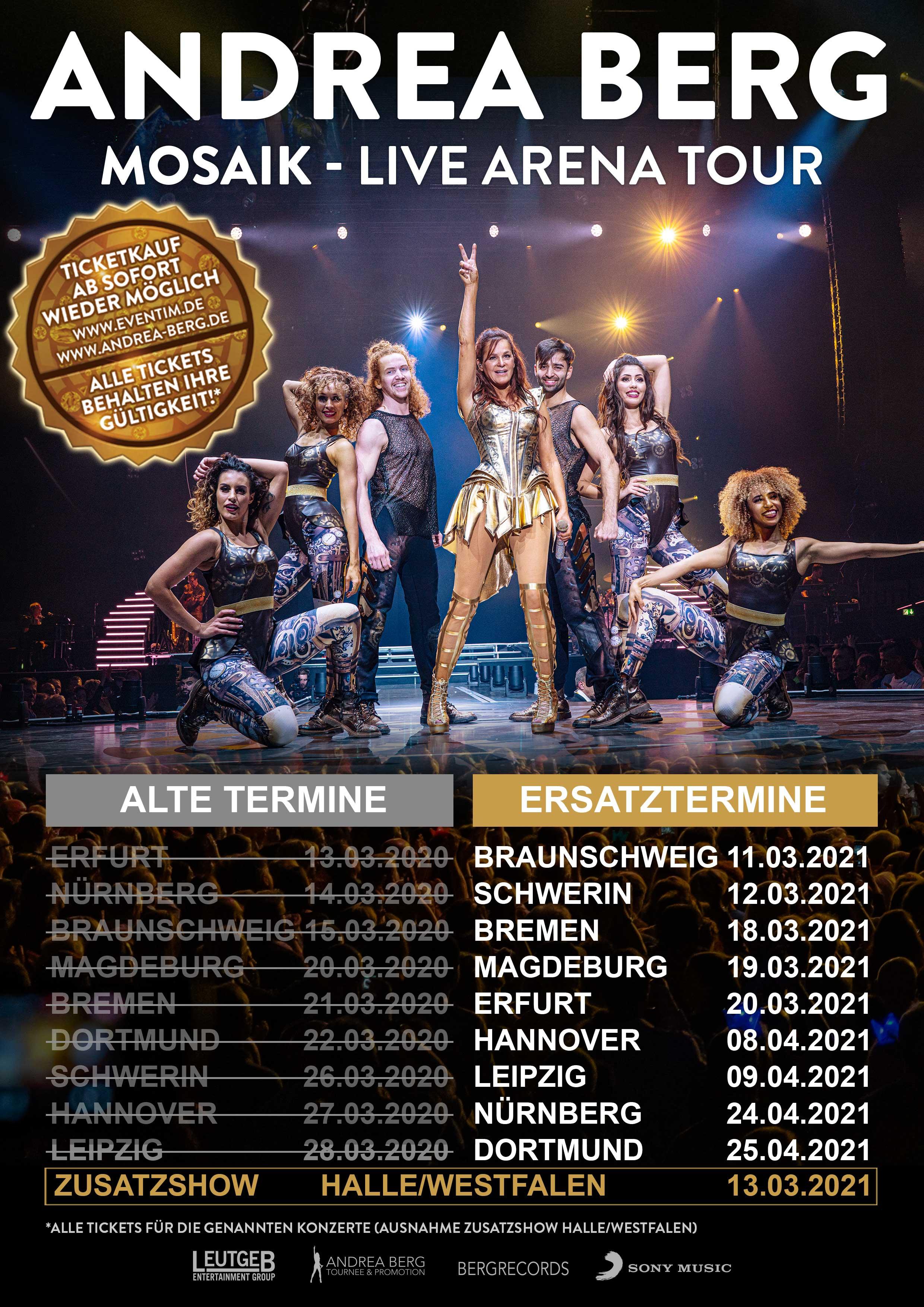 Andrea Berg MOSAIK-Live Arena Tour: Ersatztermine und Zusatzshow stehen fest
