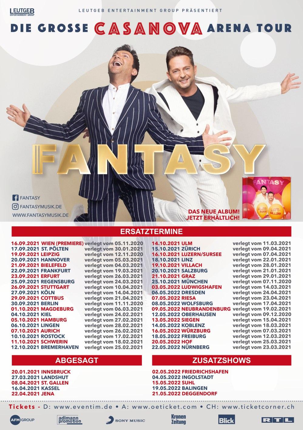 Tourneeverschiebung: Schlagerduo FANTASY - DIE GROSSE CASANOVA ARENA TOUR 2021/2022
