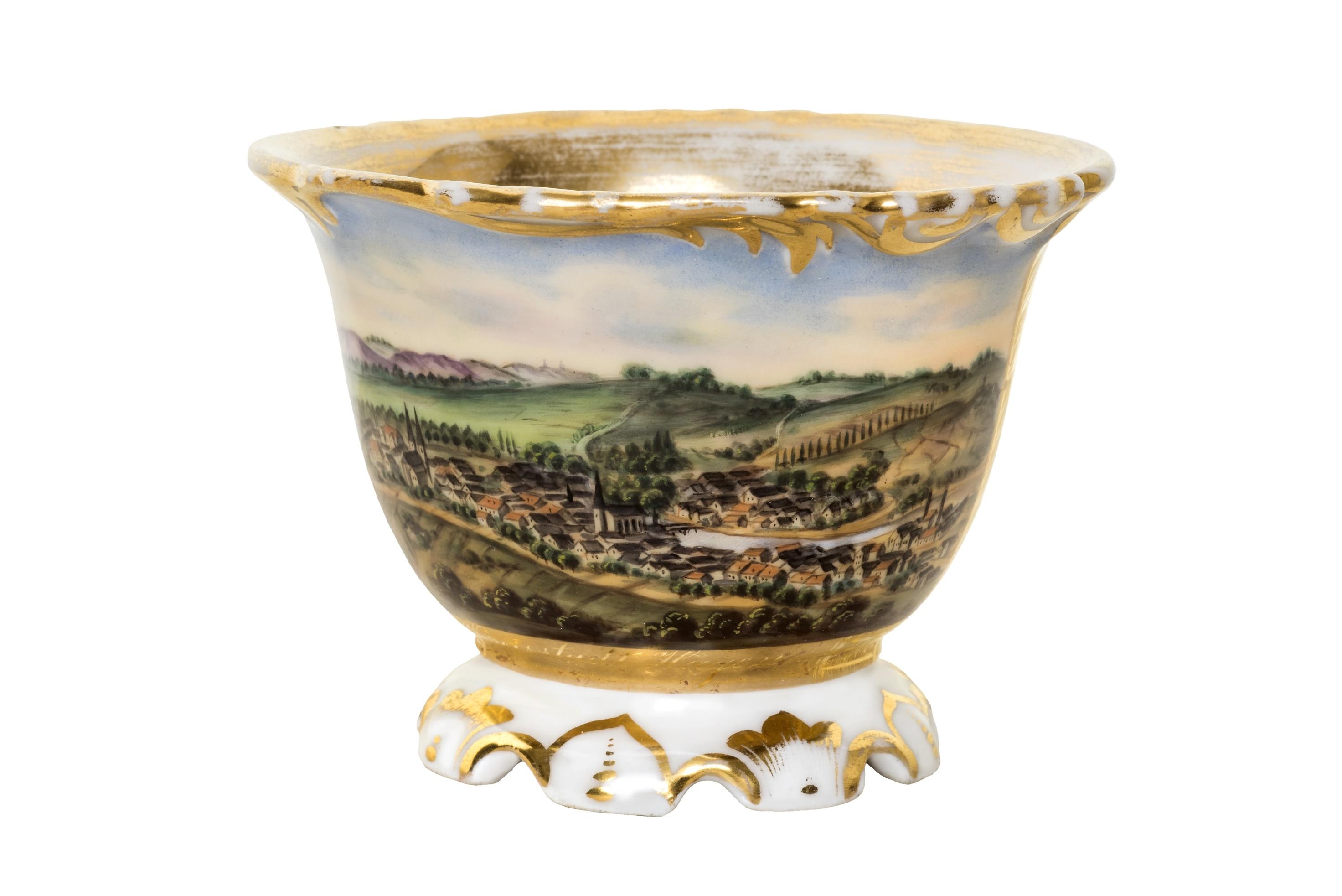 Historische Tasse mit Panorama der Stadt Hagen